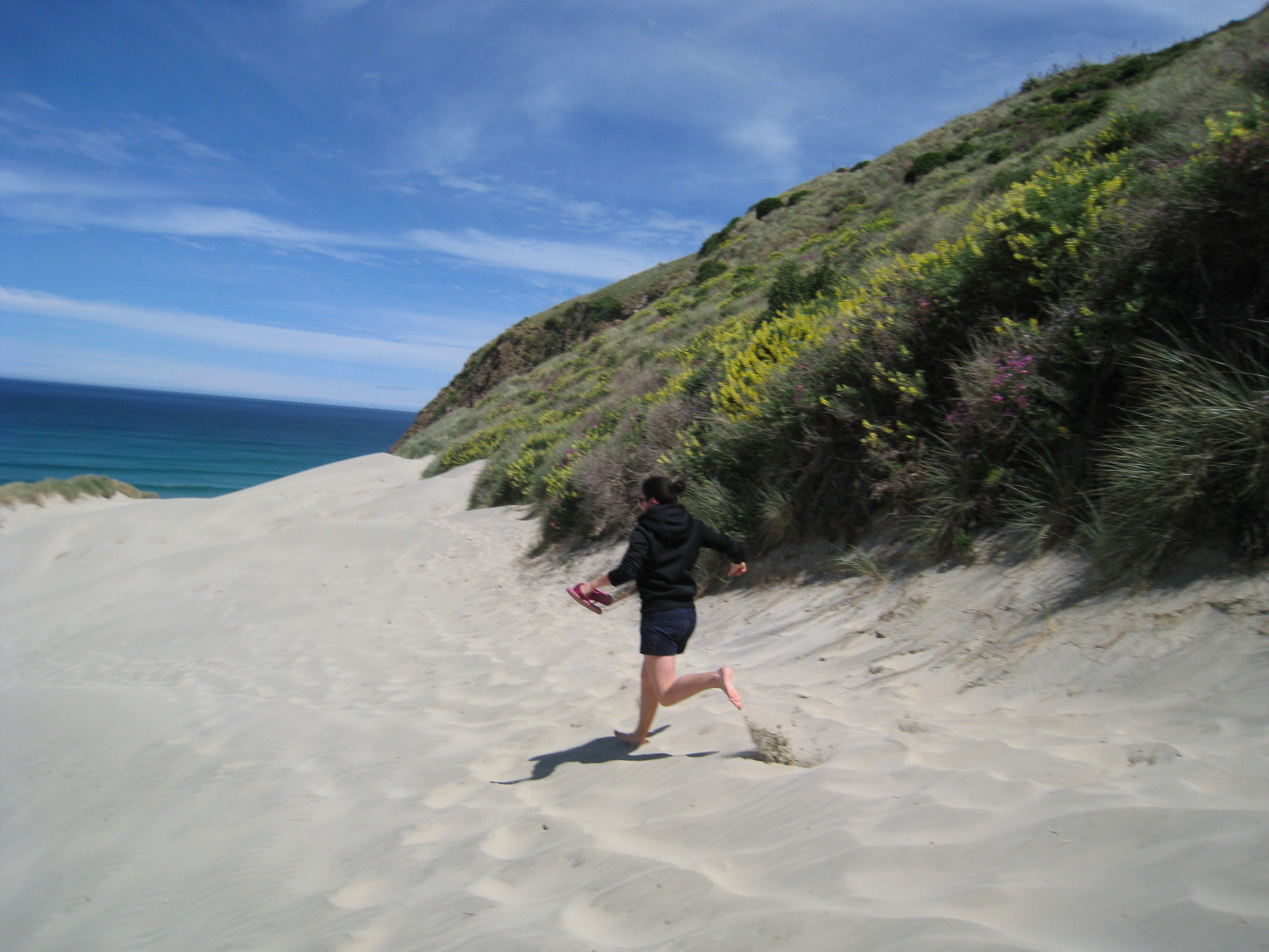 Flying down the sand dunes